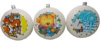 Новогодний пластиковый шар-медаль d11мм Декупаж блеск