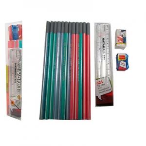 Набор карандашей чернографитных Nataraj Extra Dark 2B 12шт с точилкой ластиком линейкой 288951003