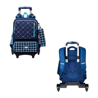 Рюкзак школьный 17 на колесах  Trolley CF86209 синий
