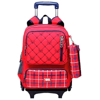 Рюкзак школьный 17 на колесах Trolley CF86210 красный