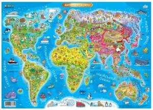 Плакат А1 детская карта мира 80018
