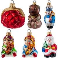 """Новогодняя игрушка формовая 2 стекло 8-13см """"Дед Мороз,Печкин,Матроскин"""""""