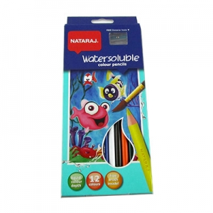 Карандаши цветные 12шт круглые с точилкой и кисточкой Nataraj Soluble 201042001