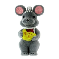 Новогодняя игрушка Крыса с сыром 13см бархат средняя пластик