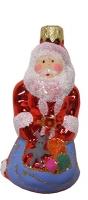 """Новогодняя игрушка формовая стекло 9см """"Дед Мороз с подарком"""" 1039"""