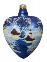 """Новогодняя игрушка формовая стекло 10см """"Сердце с цветком """" 1015"""