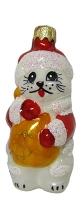 """Новогодняя игрушка формовая стекло 8,5см """"Денежный кот"""" 1072"""
