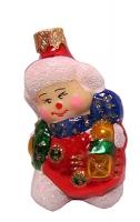 """Новогодняя игрушка формовая стекло 8см """"Снеговик с веночком"""" 1103/2"""