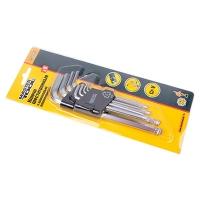 Набор ключей шестигранных с шар. нак. 9шт CrV удлинённые (1,5-10 мм L74-172 мм) Master Tool 75-0957