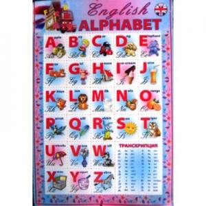 Плакат А2 Азбука картон английская Новиков