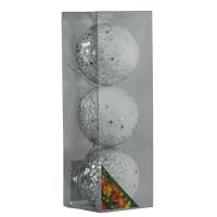 Набор елочных игрушек пластик шар 8см белый с серебряной присыпкой звездочки  в упак 3шт 91662-PN
