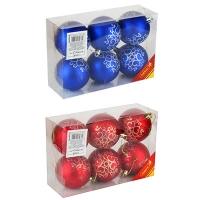 Набор елочных игрушек пластик 7см в упак 6шт микс 91506-PN (80)