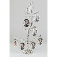 Фоторамка 9 фото Семейное дерево белое серебро мет овал 44269