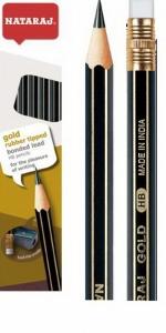 Карандаш чернографитный Nataraj Gold HB в наборе с точилкой заостренный 201052005/201052008