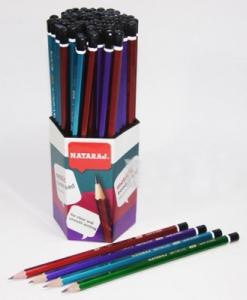 Карандаш чернографитный Nataraj Metallic HB 4 цвета заостренный 201105013