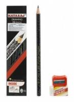 Карандаш чернографитный Nataraj Drawing HB заост, с ластиком и точилкой 201200001