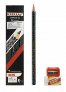 Карандаш чернографитный Nataraj Drawing 2H заостренный с ластиком и точилкой 201203001