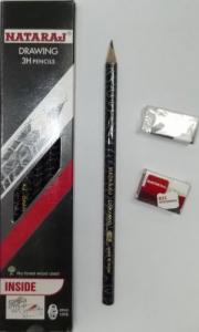 Карандаш чернографитный Nataraj Drawing 3H заостренный с ластиком и точилкой 201204001