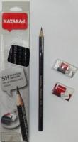 Карандаш чернографитный Nataraj Drawing 5H заостренный с ластиком и точилкой 201206001