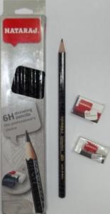 Карандаш чернографитный Nataraj Drawing 6H заостренный с ластиком и точилкой 201207001