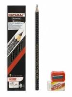 Карандаш чернографитный Nataraj Drawing 2В заост, с ластиком и точилкой 201209001