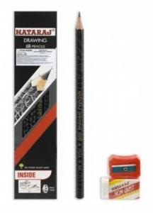 Карандаш чернографитный Nataraj Drawing 6В заостренный с ластиком и точилкой 201213001