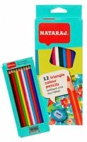 Карандаши цветные 12шт треуг с точилкой Nataraj 201250005