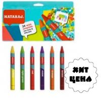 Карандаши цветные 24шт восковые 90мм Nataraj 209720001