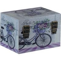 """Шкатулка-сундук """"PARIS"""" велосипед+цветы большая 56623"""