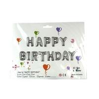 Воздушный шар Буквы Heppy Birthday золото-серебро Цена за уп 13шт 8-213 С4-1404 5-299 5-300 (1517)