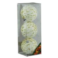 Набор елочных игрушек пластик шар 8см золотая паутинка в упак 3шт 91243-PN