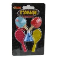Ластик фигурный на блистере Теннис 5шт 14*8см TIKI 50833-TK