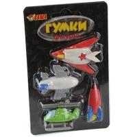 Ластик фигурный на блистере Ракета,вертолет 4шт 14*8см TIKI 50836-TK