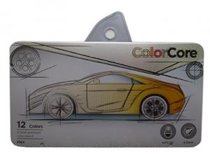 Карандаши цветные 12шт шестигранные в металическом пенале Color Core MARCO 3000-12TN