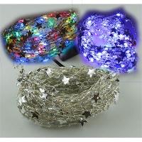Гирлянда электрическая белая, цветная, фиолет 100л звездочка леска 5-267 (6366)