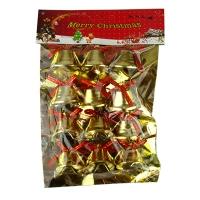 Новогодняя подвеска Колокольчики золото 12шт на блистере 5-368 (6527)