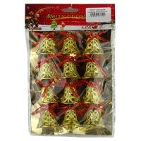 Новогодняя подвеска Колокольчики 12шт ажурные на блистере 5-371 (6527)