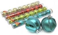 Набор елочных игрушек шар 6см 7шт в тубусе 90451-PN