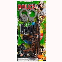 Полицейский набор автомат-трещотка,бинокль,наручники на листе 88001-02