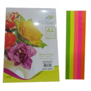 Бумага цветная А4 250л неон Sinar Spectra 75 г/м2  набор