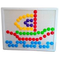 Мозаика с круглыми фишками 60 деталей доска 27,5*21,5см KW-30-015