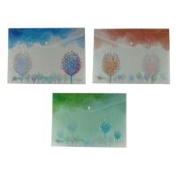 Папка на кнопке А4 Сказочные деревья пластик 9-496 (23584)