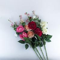 Цветы искусственные Роза 3 цветка на высокой ножке (82) 9-224