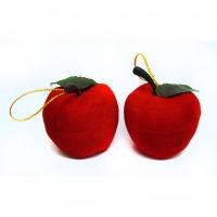Новогодняя игрушка Яблочко среднее 3см бархат 7-109 (58-5)