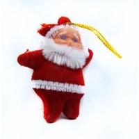 """Новогодняя подвеска 4,5см пластик """"Дед мороз"""" в наборе 6шт 7-110 (58-5) (1/100)"""