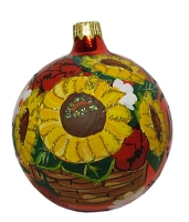 """Стеклянный шар d80мм """"Украинский рисунок"""" mix 80815авт Полимер"""