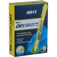 Маркер текстовый сухой флуорисцентный желтый HLD12YR Amos 100301