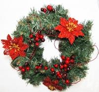 Рождественский венок новогодний с красным