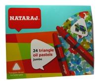 Карандаши цветные 24шт пастель Nataraj треугольные масляные 90мм 209750002