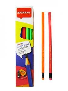 Карандаш чернографитный Nataraj Neon HB заостренный с точилкой и ластиком 201158001